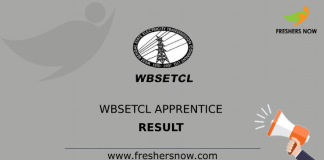 WBSETCL Apprentice Result