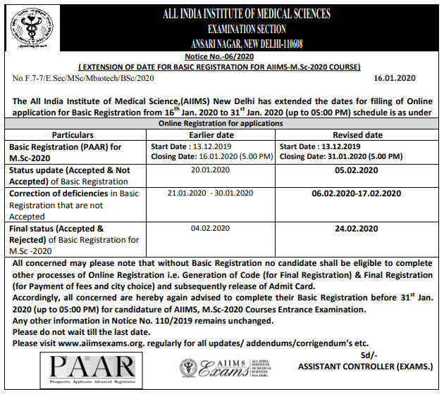 AIIMS M.Sc Extended Notice