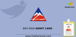 BRO MSW Admit Card