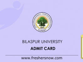 Bilaspur University Admit Card