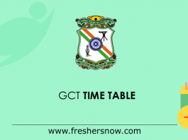 GCT Time Table