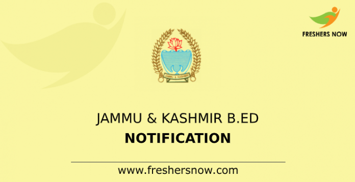 Jammu & Kashmir B.Ed Notification