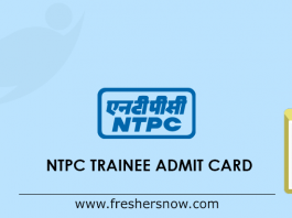 NTPC Trainee Admit Card