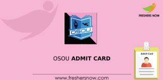 OSOU Admit Card