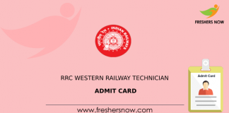 RRC Western Railway Technician Admit Card