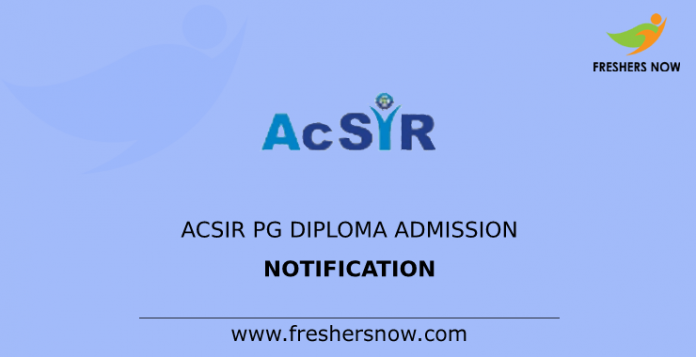ACSIR PG Diploma Admission Notification