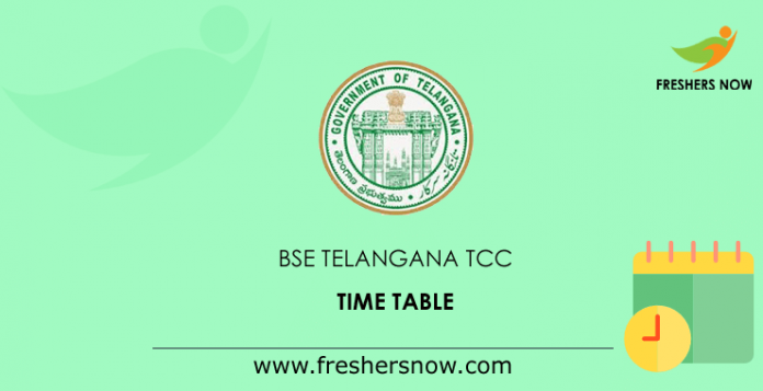 BSE Telangana TCC Time Table