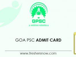 Goa PSC Admit Card