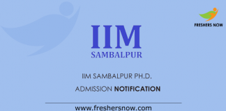 IIM Sambalpur Ph.D. Admission Notification