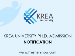 KREA University Ph D Admission Notification
