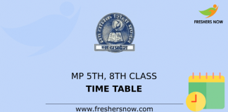 MP 5th & 8th Class Time Table