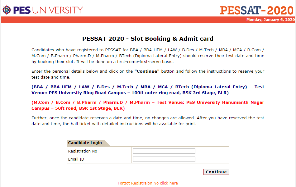 PES Admit Card & Slot Booking