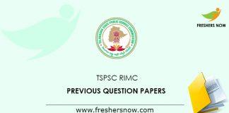 TSPSC RIMC Previous Question Papers