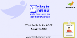 EXIM Bank Manager Admit Card