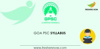 Goa PSC Veterinary Officer Syllabus 2020