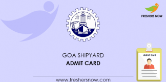 Goa Shipyard Admit Card