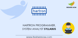 HARTRON Programmer, System Analyst Syllabus