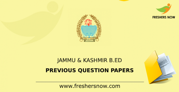 Jammu & Kashmir B.Ed Previous Question Papers