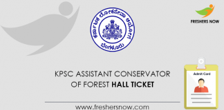 KPSC Assistant Conservator of Forest Hall Ticket