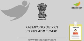 Kalimpong District Court Admit Card