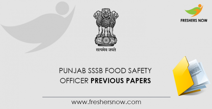 Punjab SSSB Food Safety Officer Previous Question Papers