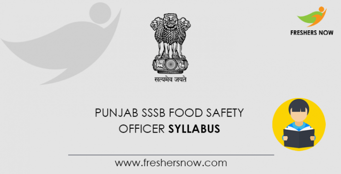 Punjab SSSB Food Safety Officer Syllabus 2020