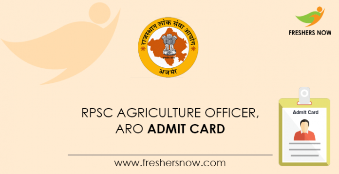 RPSC Agriculture Officer, ARO Admit Card
