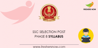 SSC Selection Post Phase 8 Syllabus 2020