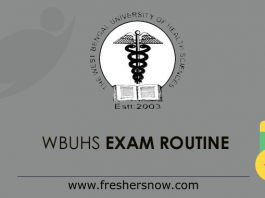 WBUHS Exam Routine