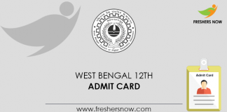 West Bengal 12th Admit Card