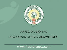 APPSC Divisional Accounts Officer Answer Key