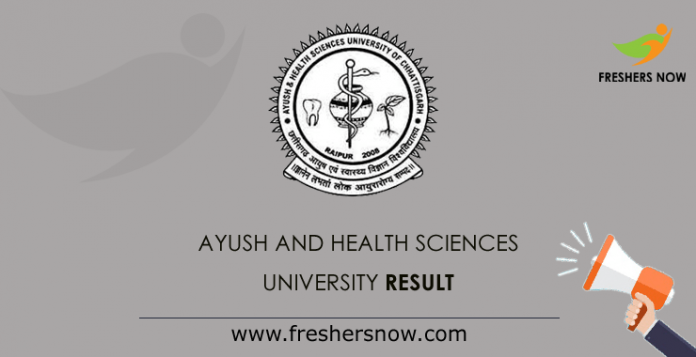 Ayush and Health Sciences University Result