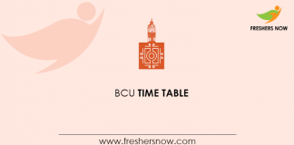 BCU Time Table