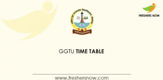 GGTU Banswara Time Table