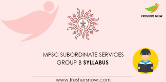 MPSC Subordinate Services Group B Syllabus 2020