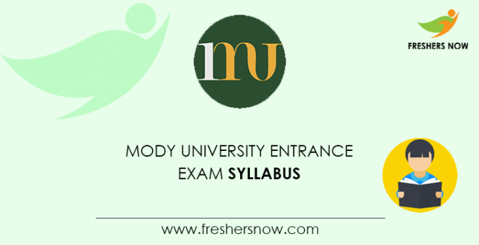 Mody University Entrance Exam Syllabus