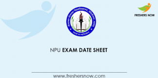 NPU Exam Date Sheet