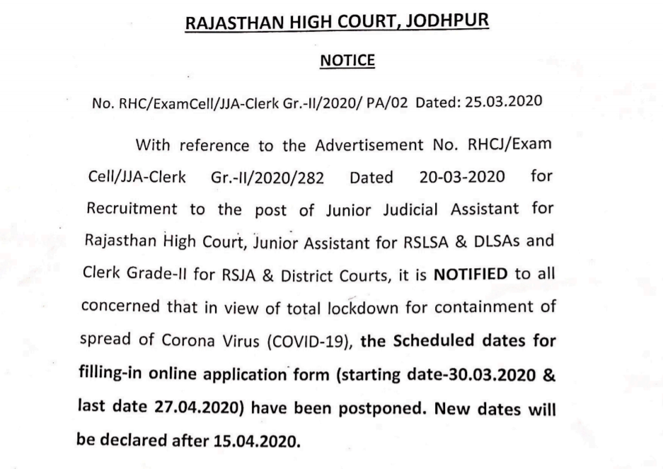Post Pone Rajasthan High Court