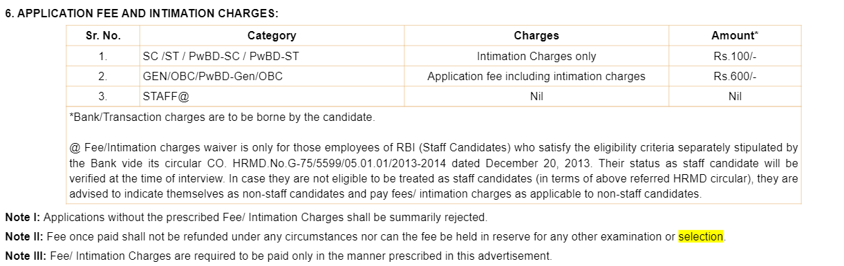 RBI Application Fee