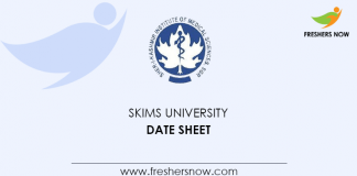 SKIMS University Date Sheet