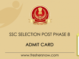 SSC Selection Post Phase 8 Admit Card