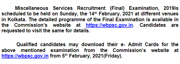 WBPSC Miscellaneous Services Final Exam Date