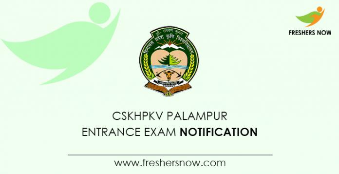 CSKHPKV Palampur Entrance Exam Notification