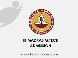 IIT Madras M Tech Admission