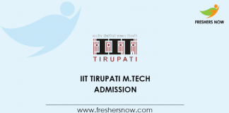 IIT Tirupati M.Tech Admission 2020