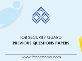 IOB Security Guard Previous Questions Papers