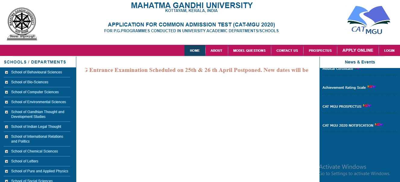 MGU CAT exam postponed