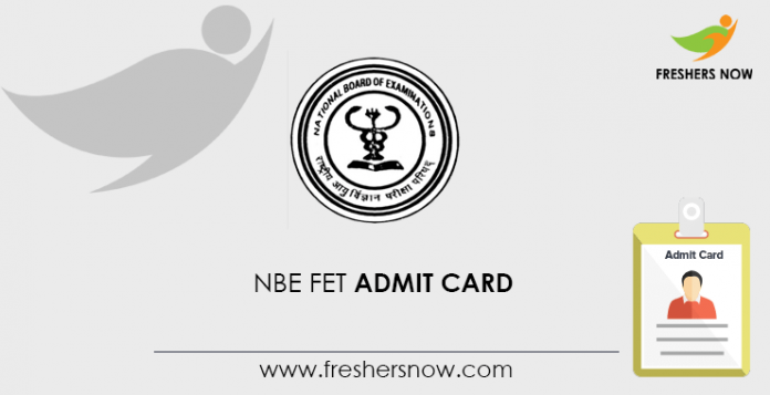NBE FET Admit Card