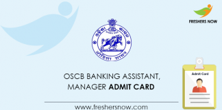 OSCB Banking Assistant, Manager Admit Card