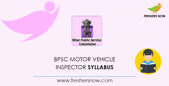 BPSC Motor Vehicle Inspector Syllabus 2020